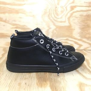 Converse All Star Triple Black Leather Mid Top